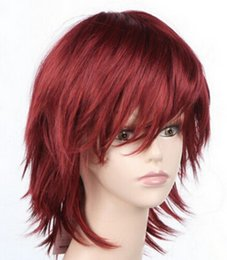 Anime wigs red online shopping - WIG Hot Sell red Short Stylish Anime Cosplay Wig