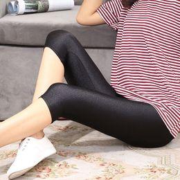 $enCountryForm.capitalKeyWord NZ - Glossy Leggings Women Thin Solid Stretchy Skinny 3 4 Mid-Calf Length Leggings Summer Knitted Elastic Waist B92894