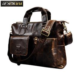 AttAche briefcAses online shopping - Men Genuine Leather Office Maletas Business Briefcase quot Laptop Case Attache Portfolio Bag Maletin Messenger Bag