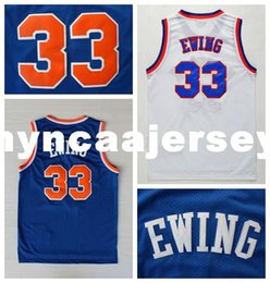 Discount basketball authentic jersey - Mens 33 Patrick Ewing Basketball Jerseys Authentic Classic White Blue Patrick Ewing Stitched Jerseys Ncaa