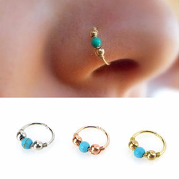Piercing Nose Surgical Australia - Hoops Helix Beads Nose Piercing Ear Cartilage Surgical Steel Turquoises Septum Clickers Nose Ring Lip Tragus Piercing free shipping