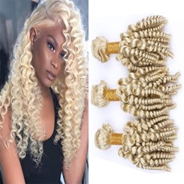 26 platinum blonde human hair extensions Australia - Virgin Brazilian Blonde Funmi Curly Hair Bundles Romance Curls Human Hair Weave 613 Platinum Blonde Spiral Curly Hair Wefts Extensions