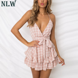 Playsuit Bow Australia - NLW White Ruffle Plaid Jumpsuits Rompers Spaghetti Strap Cross Back Bow Tie Waist Skorts Playsuit Girl Summer Beach Overalls