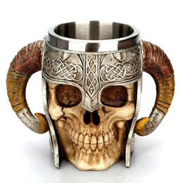 $enCountryForm.capitalKeyWord UK - 5PCS Stainless Steel Skull Mug Beer Goat Horn Resin Tankard Coffee Mugs Halloween Bar Gift Tea Cup Toys AIJILE
