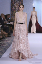 elie saab jacket Australia - Elie Saab Dresses Blush Pink High Low Evening Dresses Sexy Backless Plunging Neckline Lace Appliqued Real Photos Formal Prom Gowns Celebrity