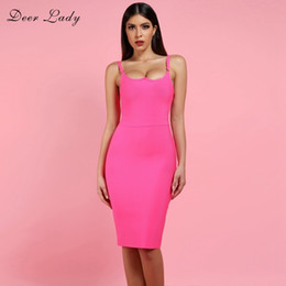 hot dress street Australia - Deer Lady Sexy Bandage Dress 2019 New Arrivals Hot Pink Bandage Dress Bodycon Autumn Women Spaghetti Strap Bandage Dress Party Y19051102