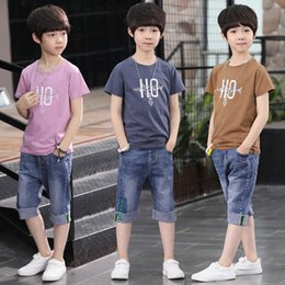 da53beb39 Boys summer dress 2019 new foreign sports children's short-sleeved suit big boy  summer boy handsome children's clothing 12 years old