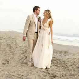 $enCountryForm.capitalKeyWord Australia - Custom Khaki Linen Men Suits Beach Wedding Groom Tuxedo Prom Party Groomsmen Blazer Bridegroom Jacket Costume Homme 2Piece Terno Masculino