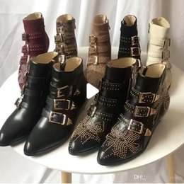 $enCountryForm.capitalKeyWord NZ - Luxury Susanna Studded Buckle Ankle Boots for women Martin winter boot Genuine leather Suede designer boots Chunky Heel combat boots
