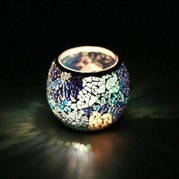 Wholesale Candles Sale Australia - Hot Sale Crystal Mosaic Glass Candle Holder Candlestick Centerpieces For Valentines Day Wedding Decoration Candle Lantern Not Candle
