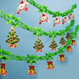 paper garland wholesale Australia - 3M Santa Claus Christmas Tree Paper Flag Party Garland Decoration Banner Bunting Party Decorations Kids Supplies