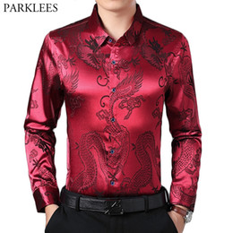 Men S Red Satin Shirt Australia - Wine Red Smooth Silk Satin Shirt Men 2019 Chinese Dragon Jacquard Mens Slim Fit Long Sleeve Button Down Dress Shirts Chemise 4XL #490540