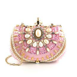 c7e514c24010 Women Fashion Rhinestone Evening Clutches Pearl Wedding Bridal Handbag  Purse Pink Minaudiere Box Wedding Party Shoulder Handbag and Purse