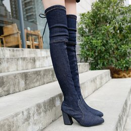 Knee High Shoe Laces Australia - women boots high heels 2018 women's Sexy Over The Knee women boots heel shoes Lace-Up High heel women boots hjm89