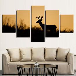 Canvas Photo Prints Australia - Art Prints Home Modern Poster Wall Modular Picture Artwork Photo 5 Panel Animal Deer Canvas Decoration Living Room Paintings