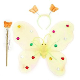 led wings NZ - New 3 pcs set Led flashing light fairy butterfly wing wand for girls, headband with light, funny educational led luminous toys for kids
