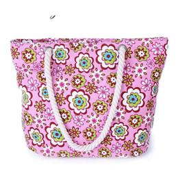 $enCountryForm.capitalKeyWord Australia - good quality Flower Printe Canvas Bag Women's Casual Travel Shopping Shoulder Bag With Cord Lady's Large Rope Beach Totes Handbag