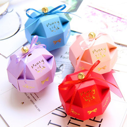 Candy Gifts Diy Australia - Creative DIY Candy Boxes Chocolate Cases with Ribbons & Gold Bells Wedding Favors Party Gifts Package WB120
