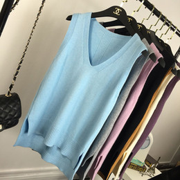 korean sweater pink women NZ - Women Knit Vests Sleeveless Top Loose V-neck Candy Color Simplee Korean Style Sweater Casual Elegant Knitwear Pillovers Spring