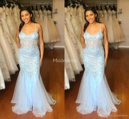 $enCountryForm.capitalKeyWord Australia - Charming Mermaid Prom Dresses 2019 Sexy Deep V-Neck Sweep Train Crystals Hot Formal Party Evening Gowns Major Beading Special Occasion Dress