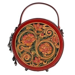 2b17dfb383aa China Style Hand Engraved Lady Small Circular Handbag Genuine Cow Leather  Carved Female Flower Shoulder Bag Women Crossbody Bag