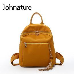 Strap Backpacks Australia - Johnature 2019 New Soft Handle Fashion Tassel Arcuate Shoulder Strap Silt Pocket Zipper Softback Solid Thread Women Backpack