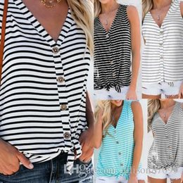 $enCountryForm.capitalKeyWord Australia - Summer Ladies Women clothes Plus size V-neck Stripes Tanks Camis Tops sleeveless Front buttons Knot hem All-matched Wholesaler Free DHL