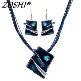 $enCountryForm.capitalKeyWord Australia - ZOSHI Fashion Jewelry Set Multilayer Leather Chain Square Pendant Necklaces Drop Earrings Jewelry Sets Women Wholesale Price