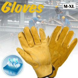 bikers leather gloves Australia - Unisex Leather Work Working Driving Gloves Driver Lorry Car Motorcycle Gloves Motorbike Biker Racing Riding Hand Moto Gloves Men