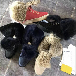 blue suede booties women UK - 2021 suede leather Rabbit fur winter boots flat shoes for women Australia Booties high top snow boots fur boots sneaker