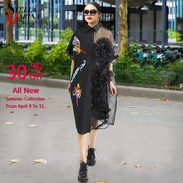 bird print collar shirt NZ - 2019 Summer Women Black Midi Mesh Shirt Dress Plus Size Ruffle Bird Embroidery Lady Sheer Cute Dress Party Dress Robe Style 3392 T190410