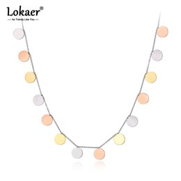 $enCountryForm.capitalKeyWord Australia - Lokaer Original Design Titanium Stainless Steel 3 Gold Color Wafer Charm Necklaces Pendant Chain Necklace For Women N19070
