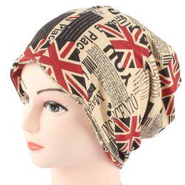 Scarfs Cotton Australia - 2017 Winter Casual Cotton Knit Hat Men Baggy Beanie Hats Autumn Women Hat Scarf Cap British Flag Printing Turban Caps Dual-Use