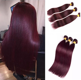 cheap red straight weave human hair UK - Wine Red 99J Straight Hair Bundles Brazilian Burgundy Virgin Human Hair Weaves 8A Cheap Hair Products