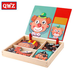 Magnetic board gaMes online shopping - QWZ Wooden Kids Educational Toys Magnetic Puzzles Game Set Easel Dry Erase Board Fun Reusable Stickers For Children Gifts SH190911
