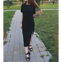 $enCountryForm.capitalKeyWord NZ - Summer Maxi Dress T Shirt Women Beach Casual Party Boho Sexy Vintage Bandage Bodycon Club Elegant Long Black Dresses Plus Size Y19051102