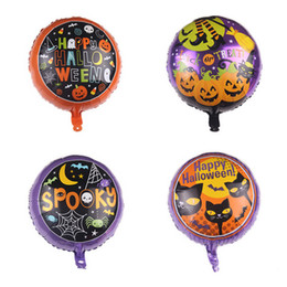Wholesale happy birthday cats resale online - 18inch Happy Halloween Balloons Black Cat Spider Bat Foil Balloon Children Birthday Party Supplies Baby Toys Decoration DBC VT0548