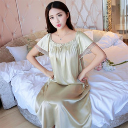011ea2af38a 2019 NEW Summer Ice Silk Nightgown Female Home Service Loose Plus size  Comfort Imitation Silk Sexy Pregnant Woman Nightdress Z37