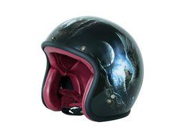 Vespa Helmet Half Face Australia - 3 4 Open Face Half For Harley Moto Motorcycle Helmet vintage Motorbike Vespa capacete Chopper Bike Moon Fly Wolf