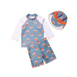 dc983175bf853 Baby Boy Bathing Cartoon UK - Summer Toddler Kids Baby Boy Cartoon Fox T- shirt