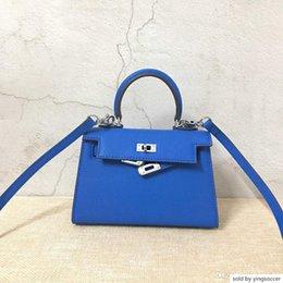 $enCountryForm.capitalKeyWord Australia - New Color Blue 22cm Mini Brand Women Totes Genuine Leather Bags Shoulder Bag With Lock Scarf Horse Lady Handbag High Quality