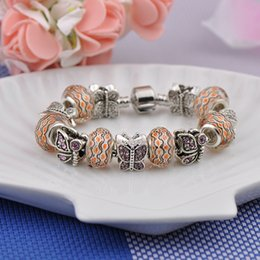 $enCountryForm.capitalKeyWord NZ - Best Charm Bracelets Silver Plated Women Fashion Fit Pandora Bangles Amber Crystal Beads Diamond Butterfly Alloy Jewelry Accessories P22