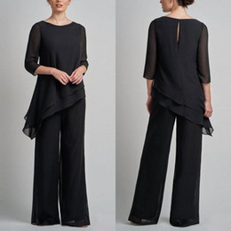 plus size mother groom pant suits UK - Cheap Black Long Sleeves Mother Of The Bride Pant Suits Jewel Neck Tiered Wedding Guest Dress Plus Size Chiffon Mothers Groom Dresses