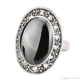 black enamel plates NZ - Cheap Price 2017 Vintage Jewelry Oval Black And Green Enamel Ring For Women Silver Plated Crystal Gift Free Shipping