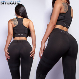 ladies wearing yoga pants Australia - High Waist 2 Piece Fitness Set Women New Workout Leggings Push Up 2019 Sport Yoga Wear Woman Gym Running Sportswear For Ladies