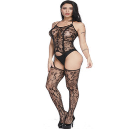 Sexy Lingerie Hollow Out Teddies Bodystocking Con apertura sul cavallo Tuta Mesh Lingerie Lace Sleepwear Collant Catsuit Costume erotico