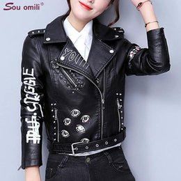 punk motorcycle jacket NZ - Printed Letters Rivet Leather Jacket Women Punk Motorcycle Coat Black Faux Jacket Jackets Leather Jackets Chaquetas Belt Jacket 2019 T190823