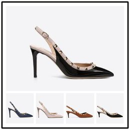 studs sandals Australia - Designer Sandals Pointed Toe Studs high heels Patent Leather rivets Women Sandals Studded Strappy Dress Shoes valentine 10cm high heel Shoe