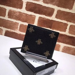Folding Card Table Australia - Top Quality Luxury Celebrity design Letter Printing Bee Star Two fold wallet Card Back Cowhide Leather 495055 Short Purse Clutch