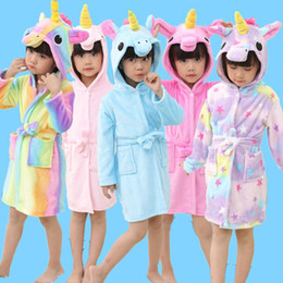 $enCountryForm.capitalKeyWord Australia - Unicorn Hooded Children Bathrobes Kids Star rainbow Bath Robe Animal For Boys Girls Pyjamas Nightgown Kids Sleepwear Kigurumi SH190912